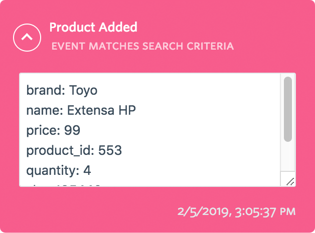 Customevents properties eventlist