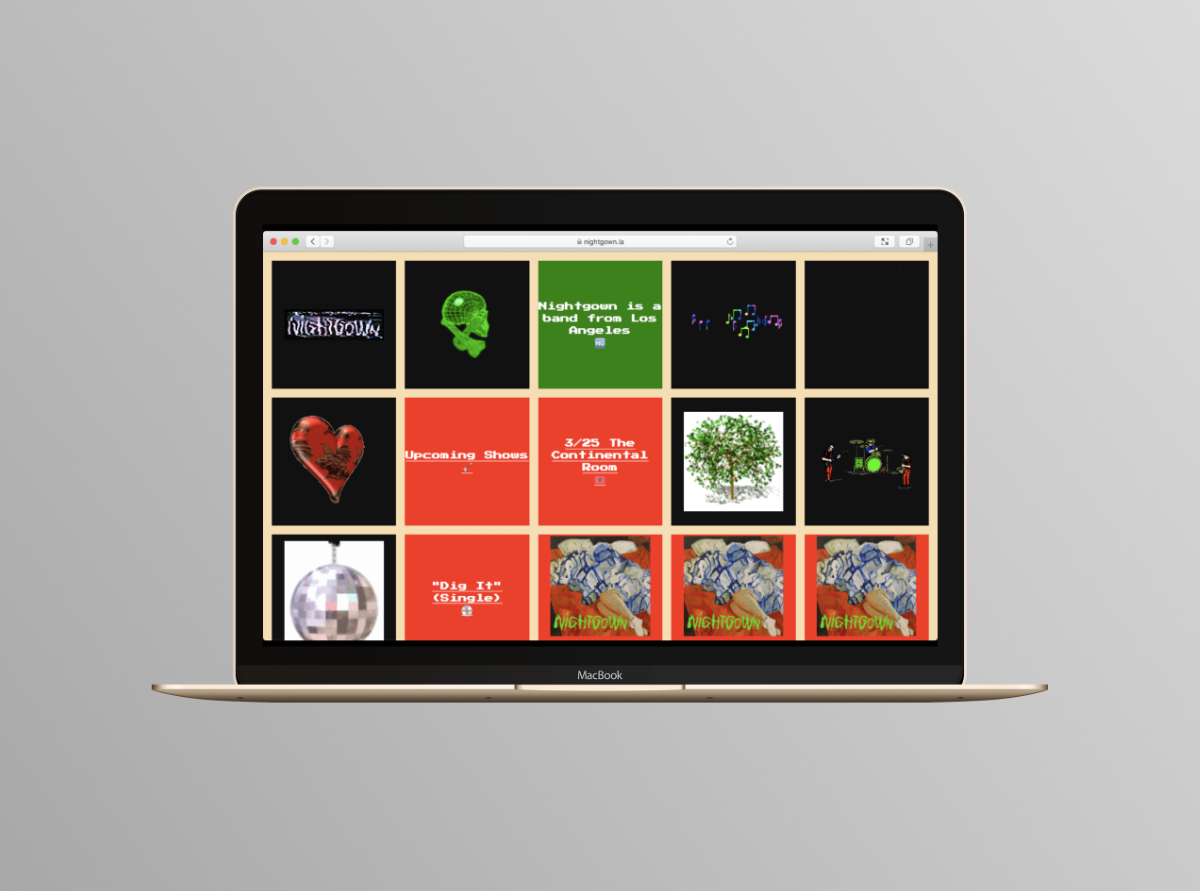 Nightgown website on laptop.