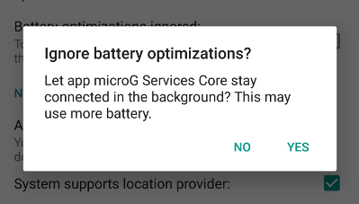 MicroG prompting to disable Doze for it.