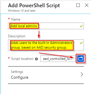 Image depicting how to name and select a powershell script to be uploaded to Intune.