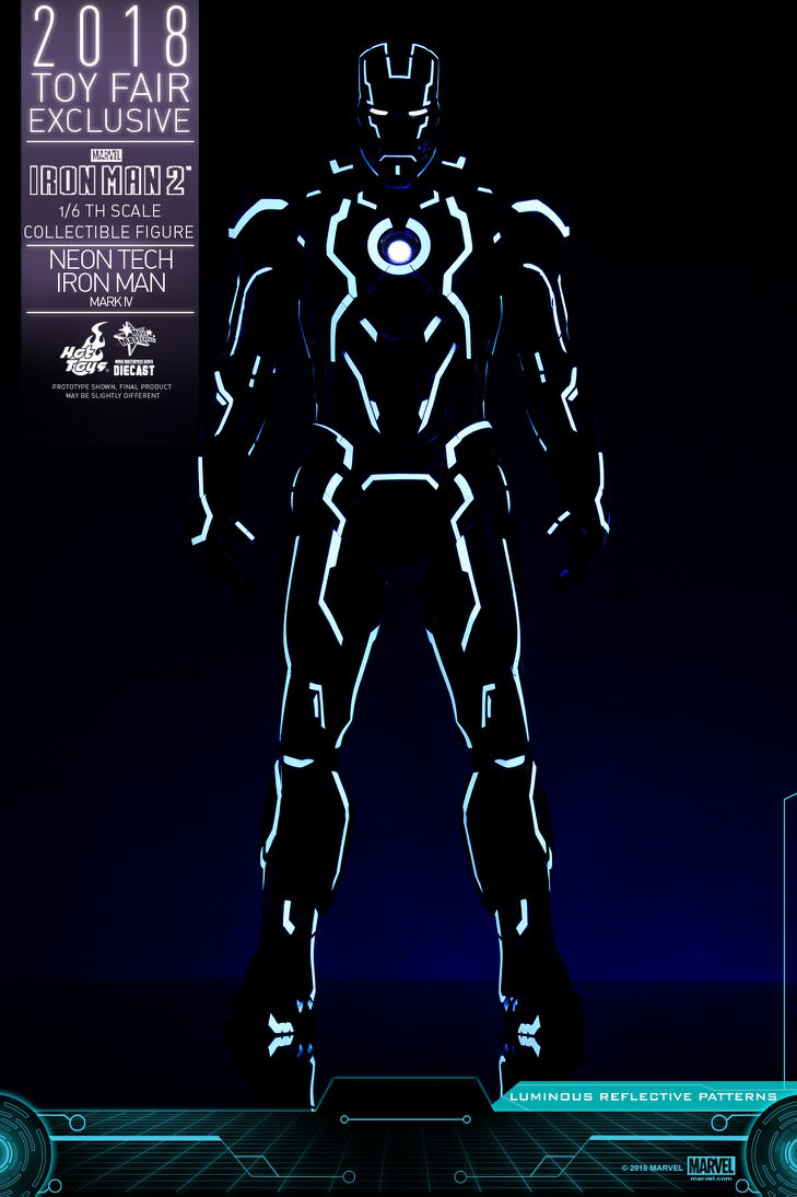 Hot Toys Iron Man 2 MMS485D24 Neon Tech Iron Man Mark IV 1/6th Scale Collectible Figure