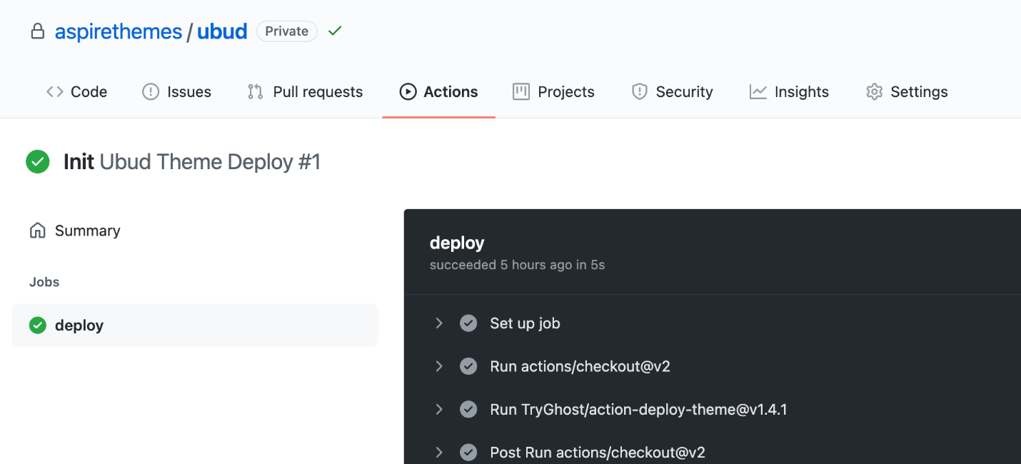 Ubud GitHub Actions