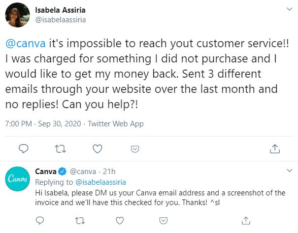 A tweet from an angry customer about Canva's customer support, and Canva's response