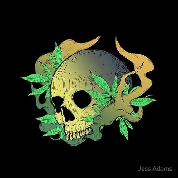 Smoking cannabis skull