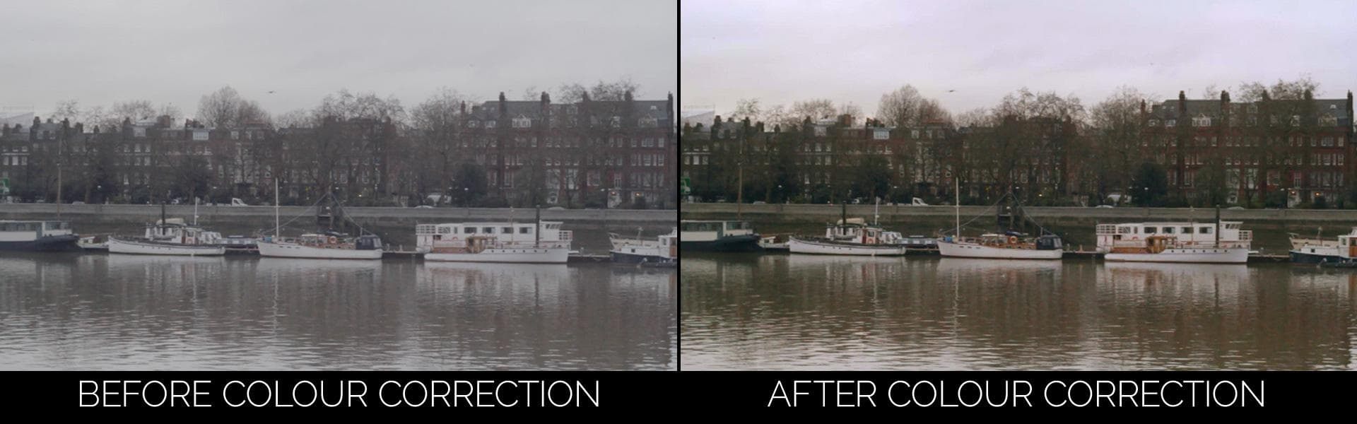 Side by side comparison of footage from the camera with Cinestyle profile on and the colour corrected output