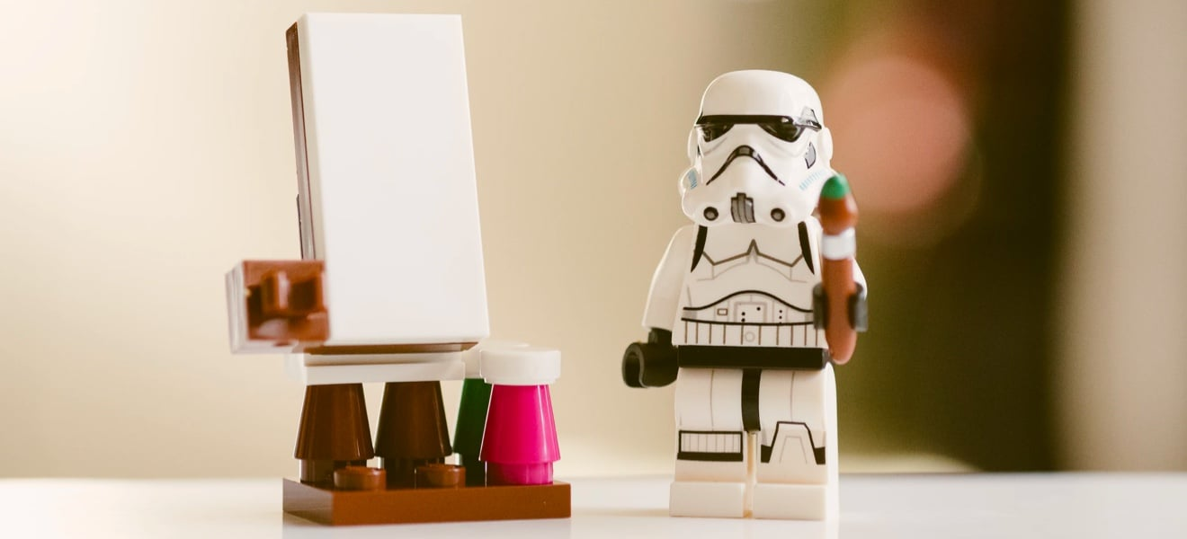 Lego storm trooper painting.
