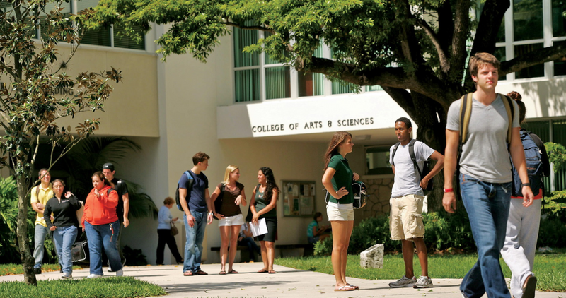 Students outside on a quad at the University of Miami