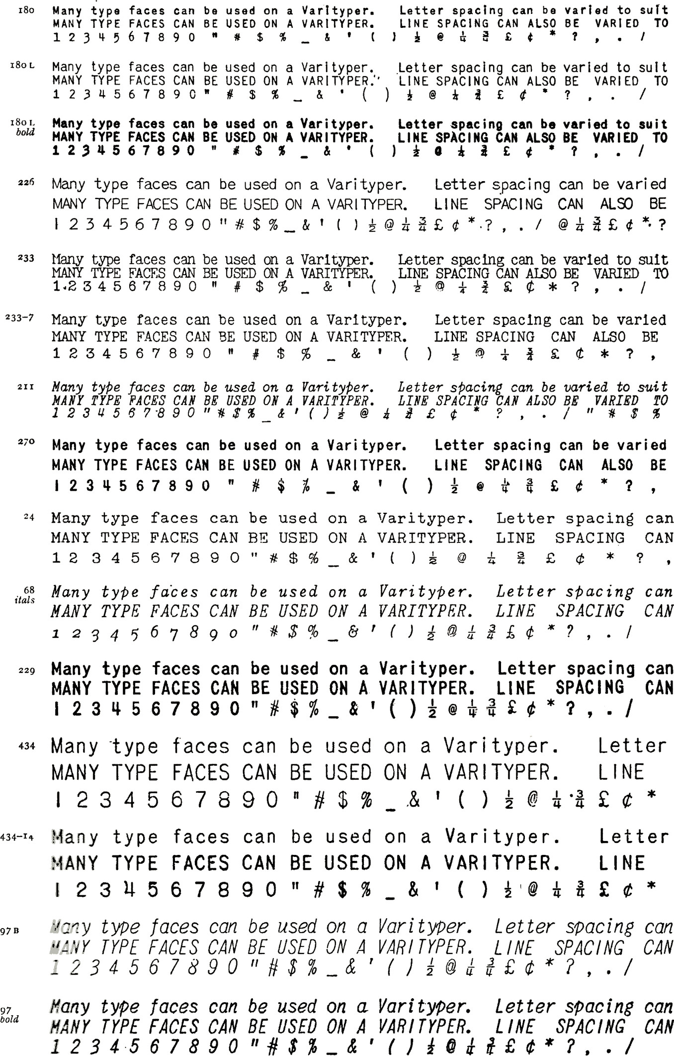 """Lots of typefaces with the same example text: Many type faces can be used on a Varityper. Letter spacing can varied. (Then the same again in full caps). 1 2 3 4 5 6 7 8 9 0 """" # $% & ' () 1/2 @ 1/4 3/4 £ ¢ * ? ,. Letters have consistent thickness."""