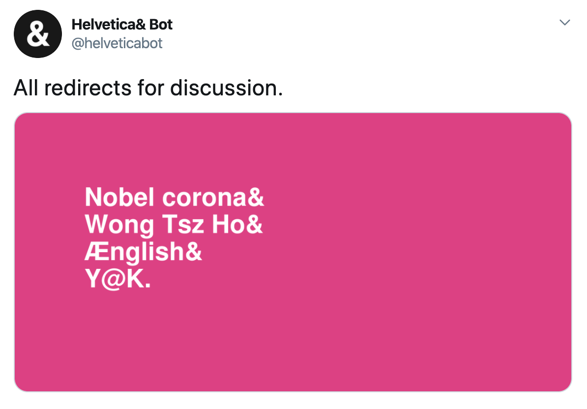 "Screenshot of a Helvetica Bot tweet. The category is ""All redirects for discussion."""