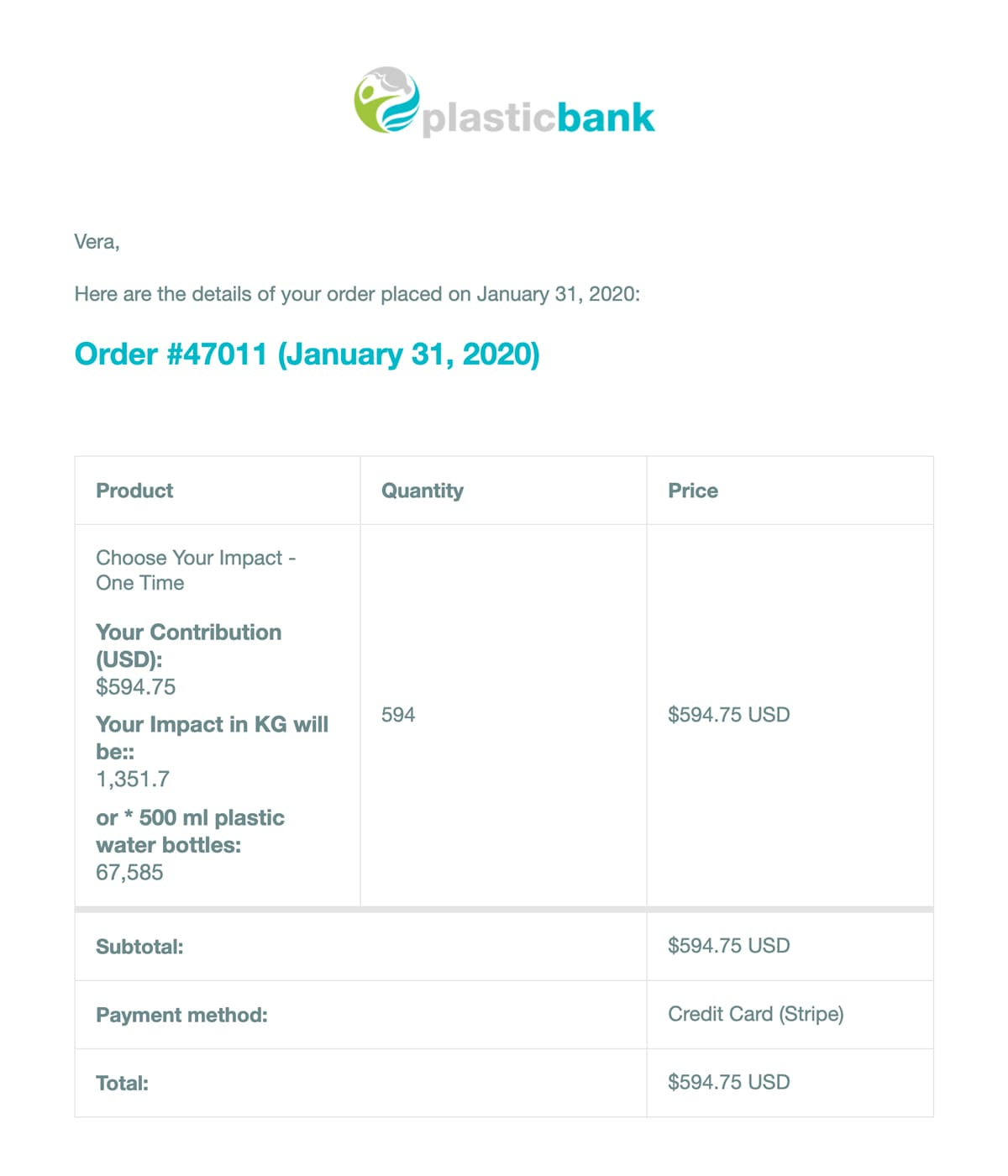 plastic bank receipt