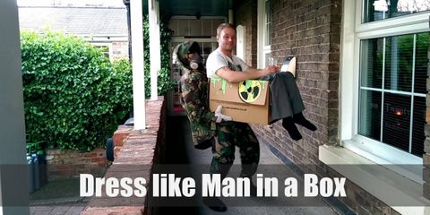 The Man in a Box costume is highly customizable. All you will need is a white dress shirt, black pants, a cardboard box, and fake blood.