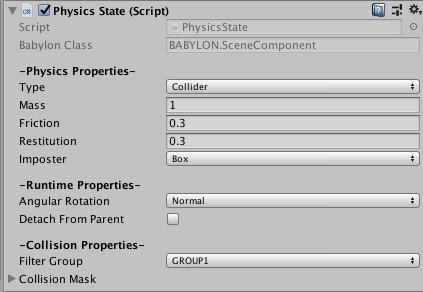 Script Components (Unity exporter) - Babylon js Documentation