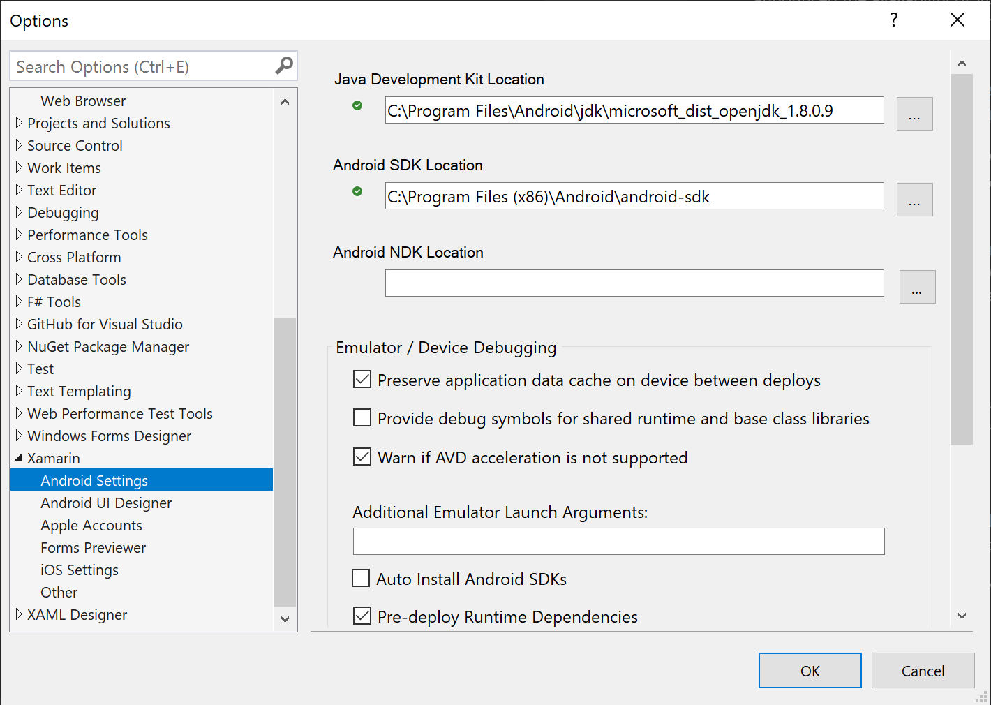 Visual Studio Android settings