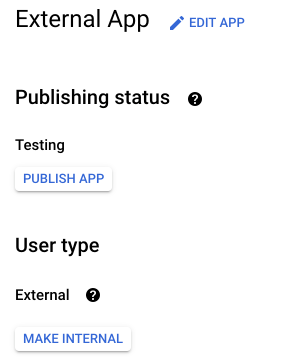Google Console App Dashboard