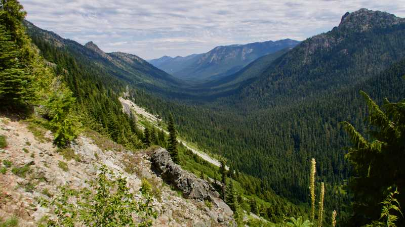 A glacial valley that leads to Chinook Pass
