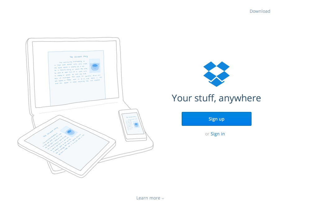 Dropbox example of a simple landing page