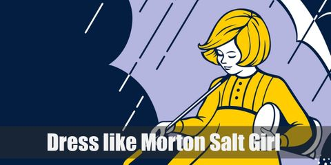 The iconic background of dark blue with pouring rain offsets her own costume colors of yellow and white making the girl look like a beacon of hope or sunshine in dark times.