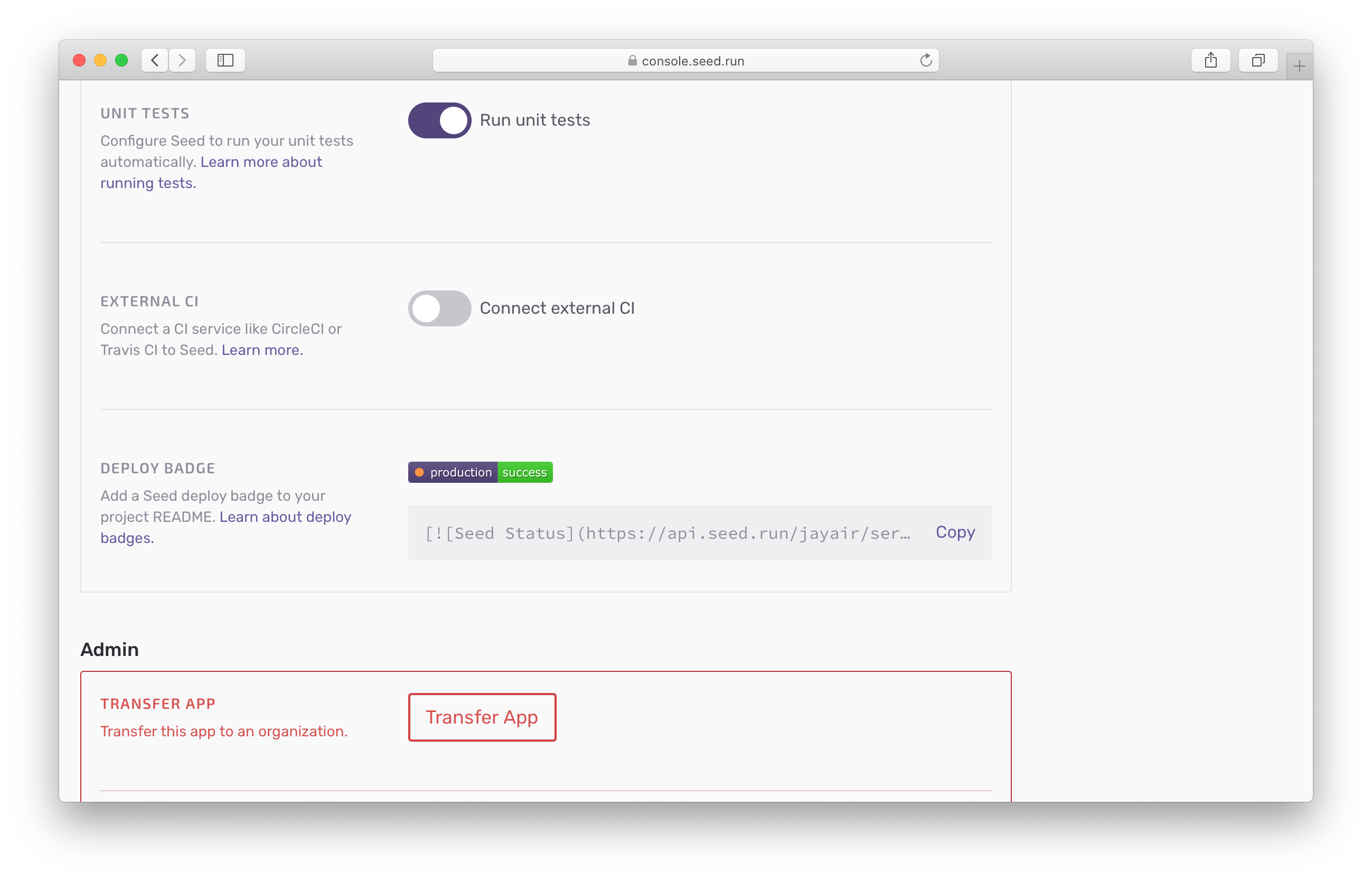 Seed deploy badge markdown code snippet in app settings