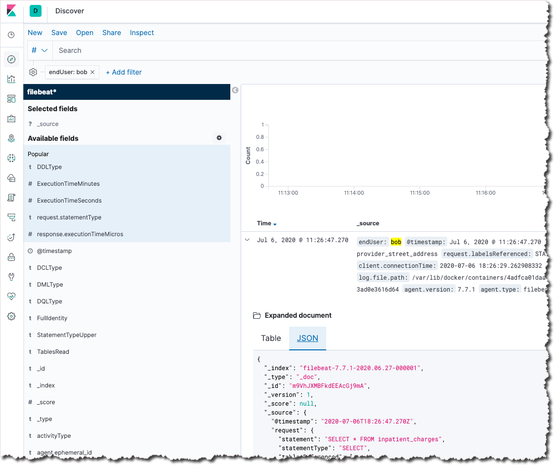 Viewing a SQL database query log entry from Cyral in Kibana