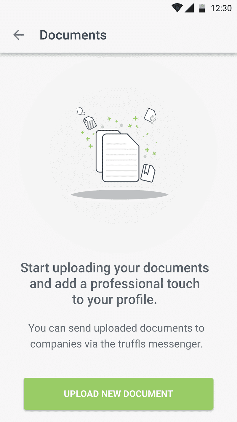 Screenshot of No documents in Jobapp for Android