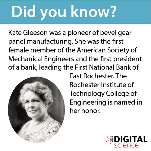 Kate Gleeson was a pioneer of bevel gear panel manufacturing. She was the first female member of the American Society of Mechanical Engineers and the first president of a bank, leading the First National Bank of East Rochester. The Rochester Institute of Technology College of Engineering is named in her honor.