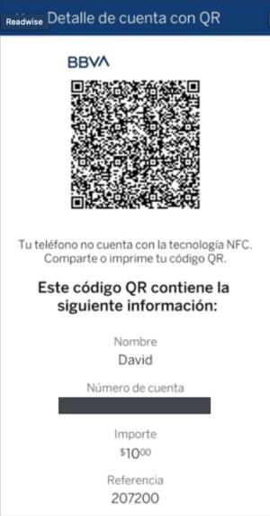 Detalle de cuenta con QR