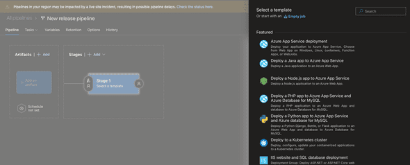 Empty Azure Pipeline job with an interface to select a template. We chose to start from scratch with an empty job.