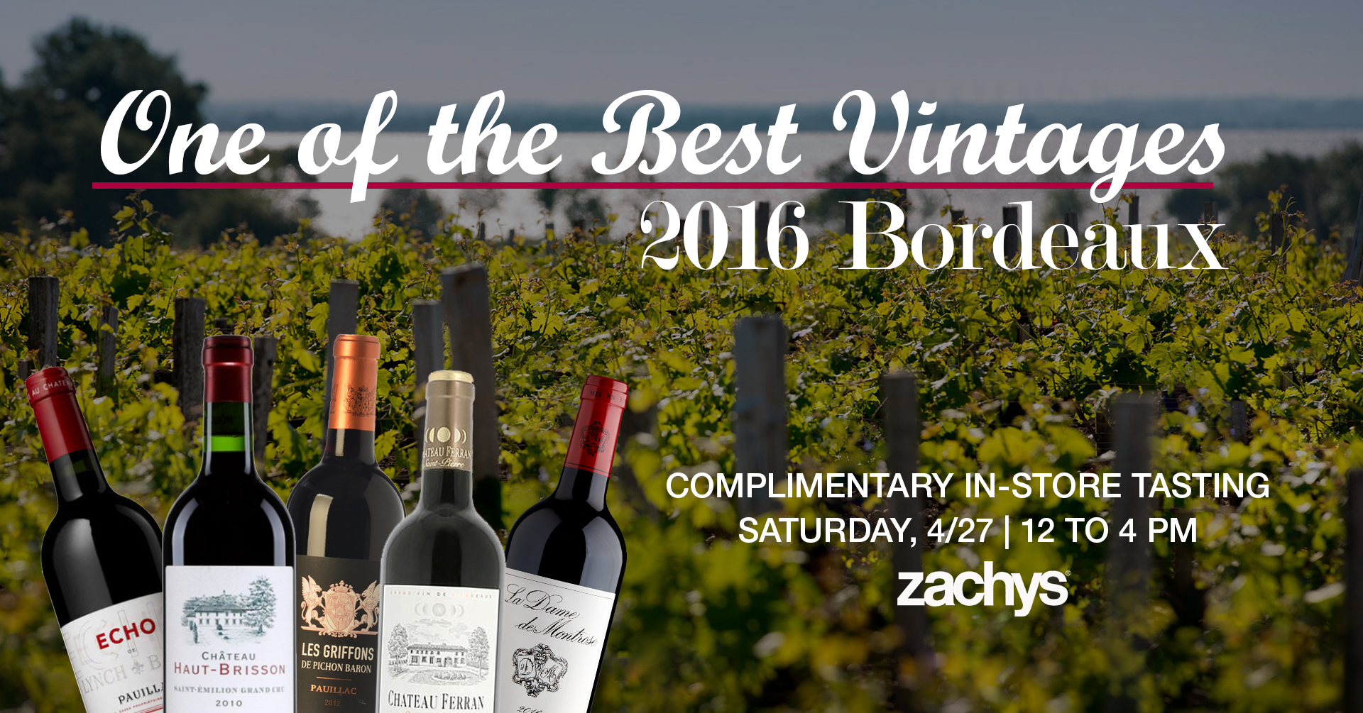2016 bordeaux tasting event banner, on vineyard background