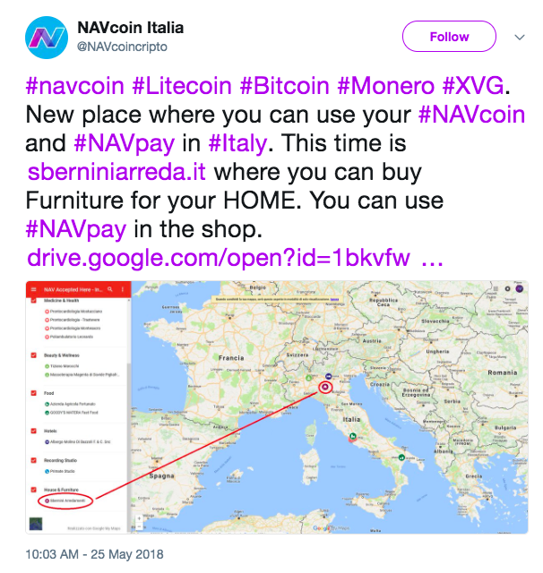 NavCoin Italia Merchant Map