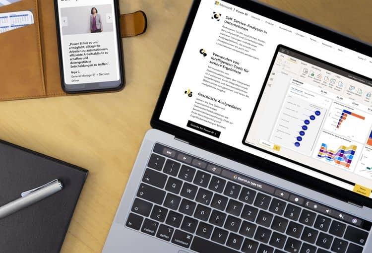 Screenshot eines Power BI Berichts auf Laptop und Smartphone