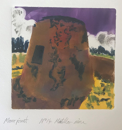 brightly coloured monoprint of Martello Tower