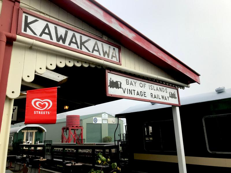Our first stop is Kawakawa with an old vintage trail running right through the center of town