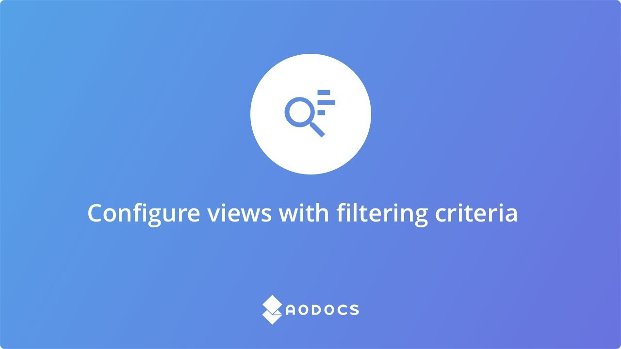 Configure views with filtering criteria's thumbnails