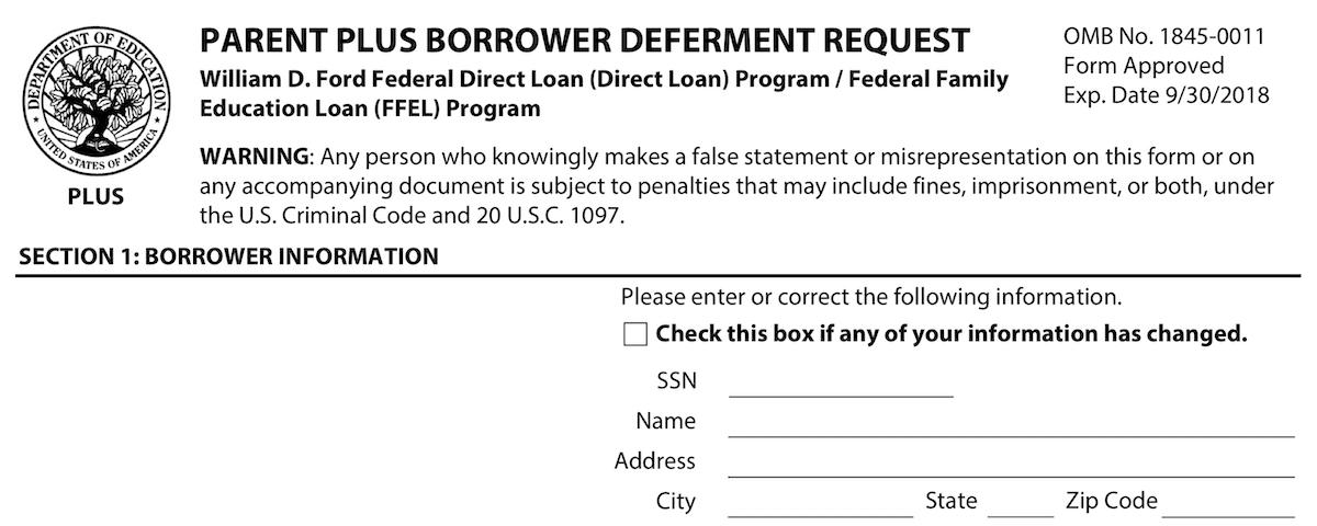 Education Department PLUS Deferment Form