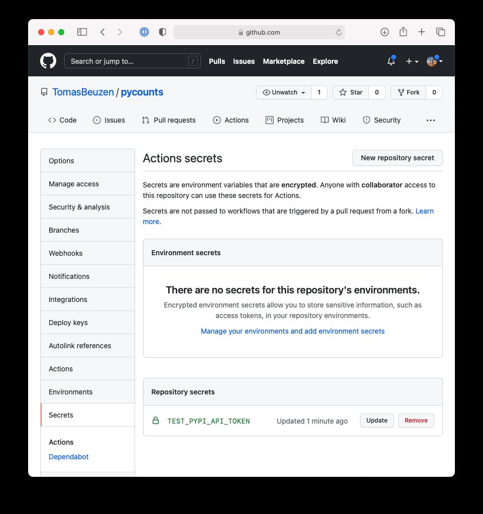 Adding the TestPyPI API token secret to our GitHub repository.