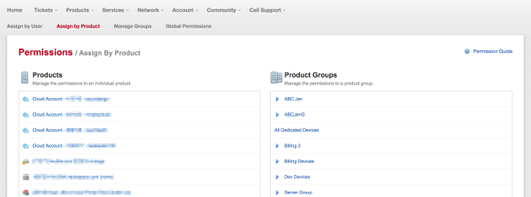 MyRackspace screenshot - Assign SSO permissions by product