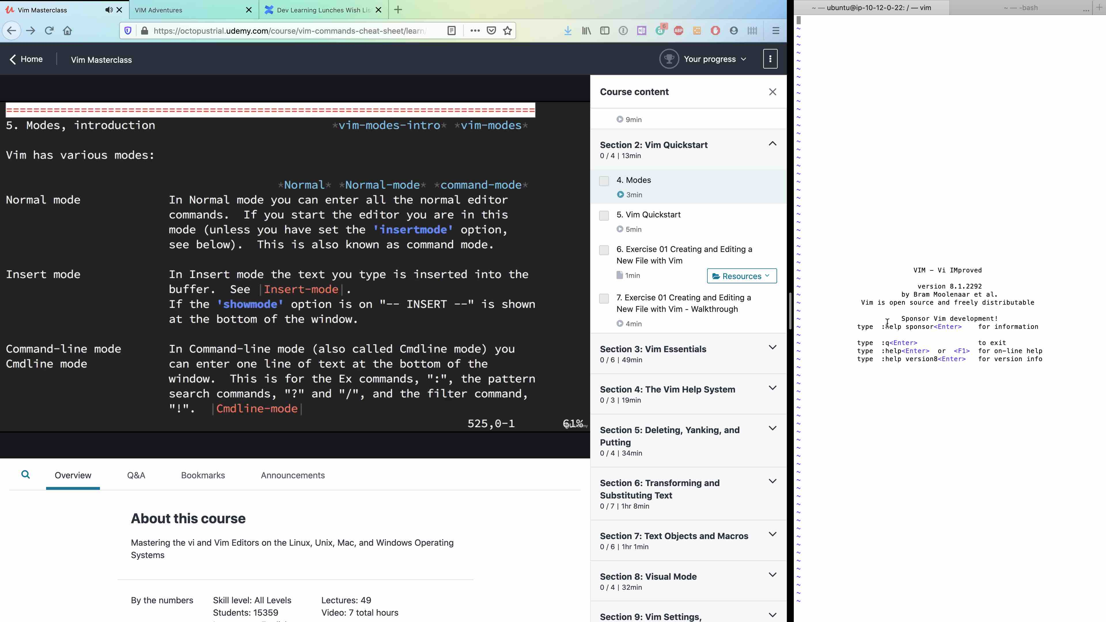 Following along remotely to our Vim Udemy course on Rhymes's machine