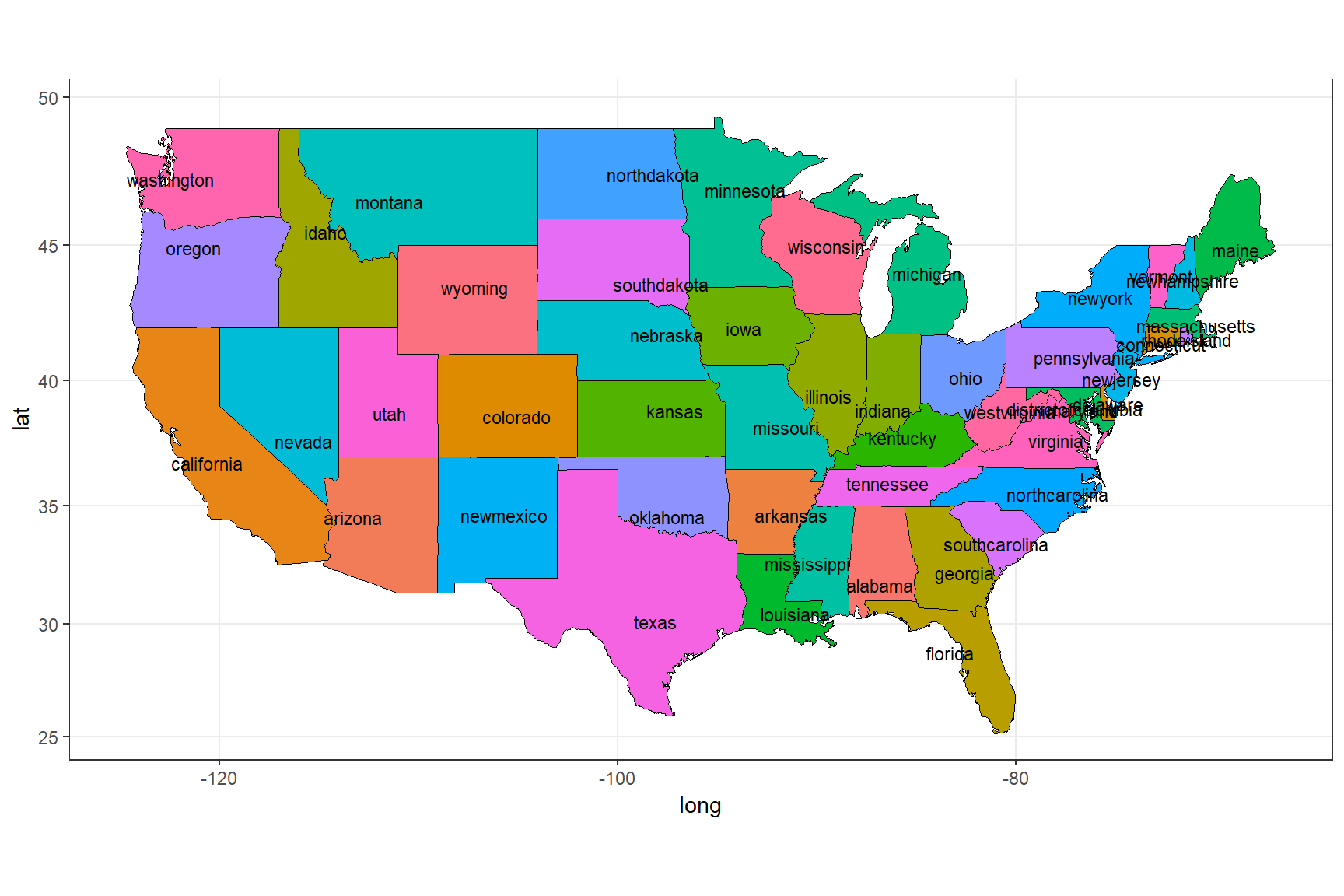 Labelling the states using state_center data