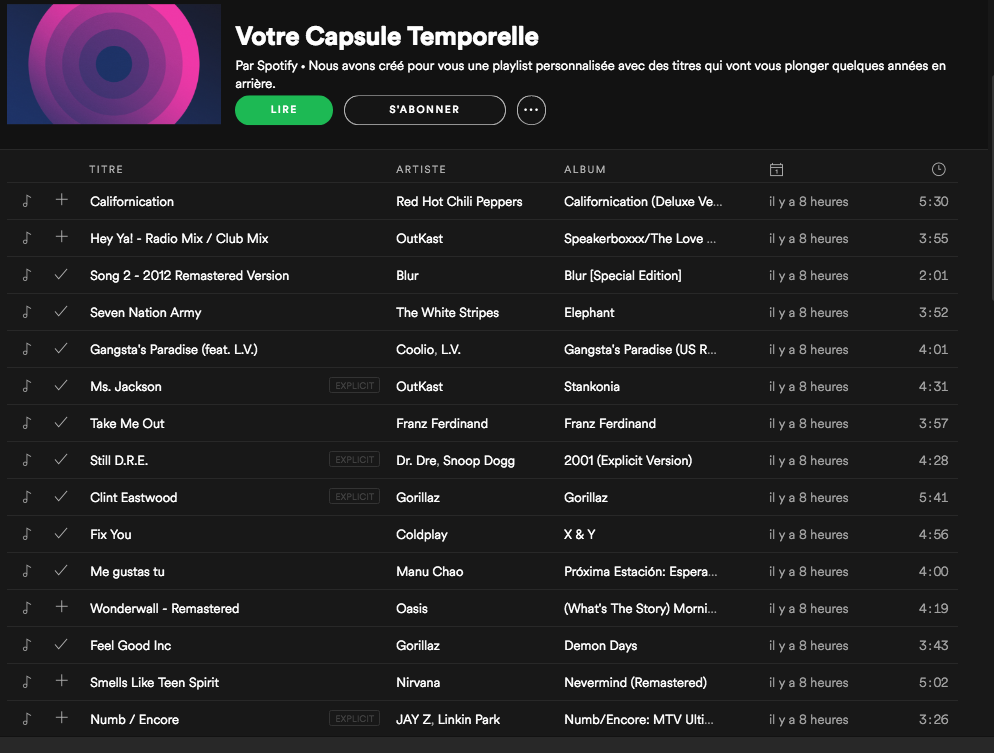 Kumbu Spotify Time Capsule Playlist