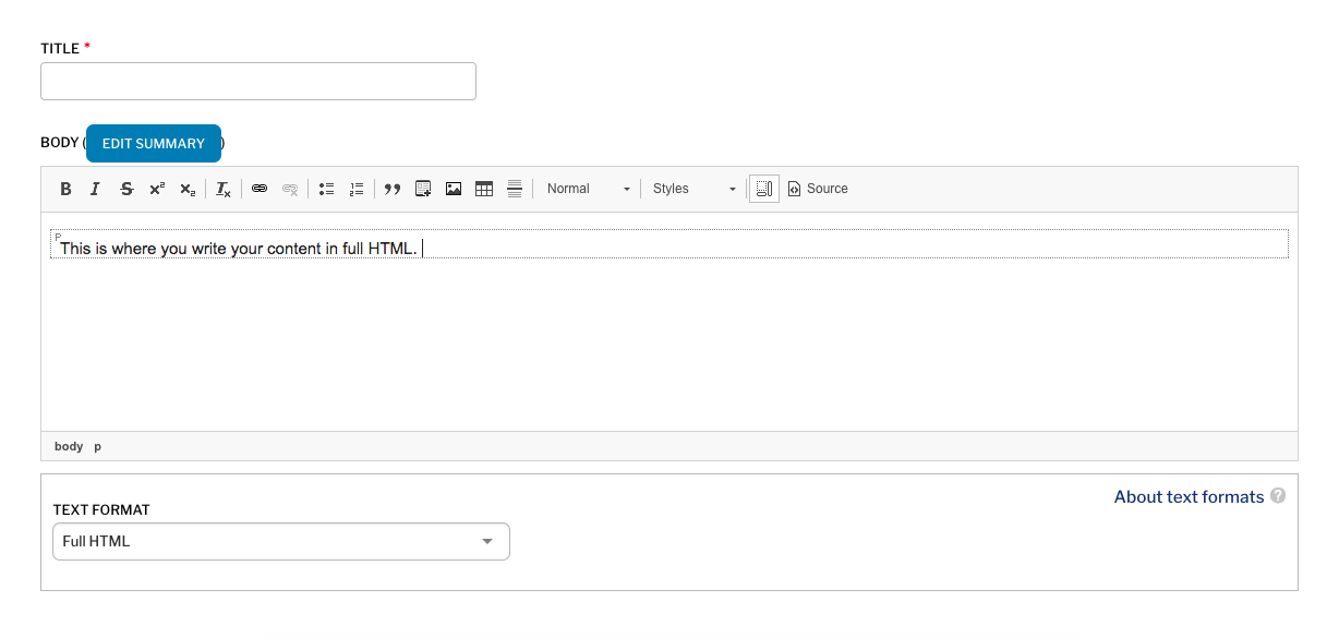 Full HTML