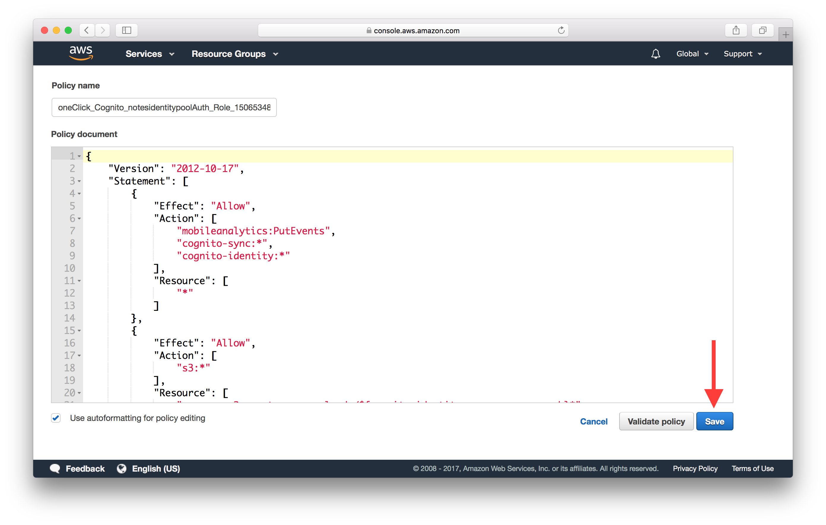 Save auth role policy Screenshot