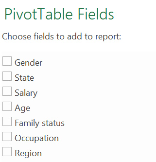"""A screen grab of the """"Pivot table fields"""" window in MS Excel"""