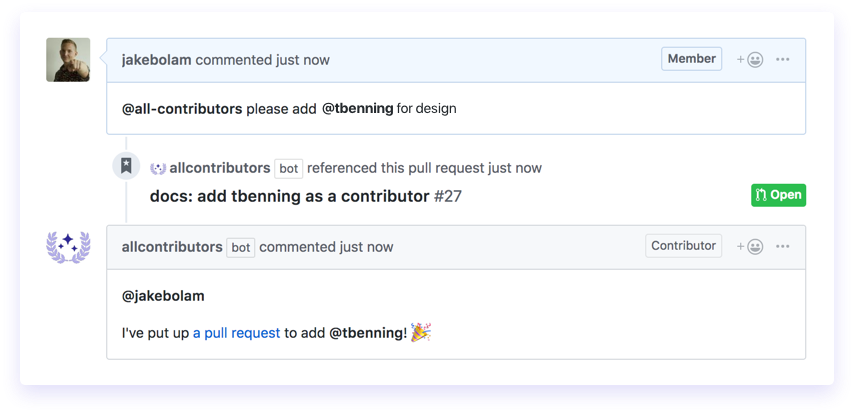 contributors bot screenshot