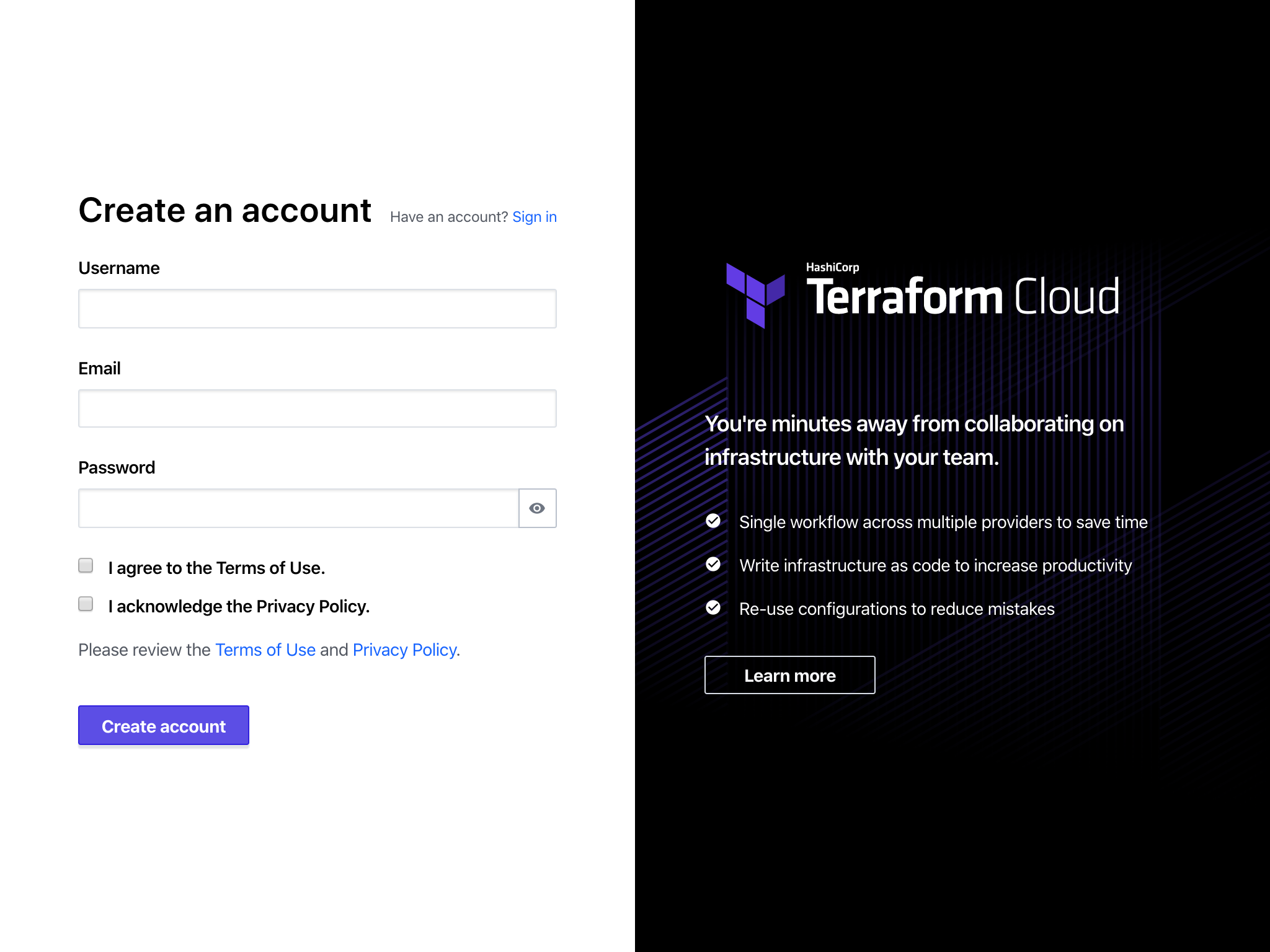 Create a Terraform Cloud Account