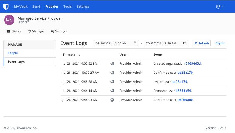 Provider Event Logs
