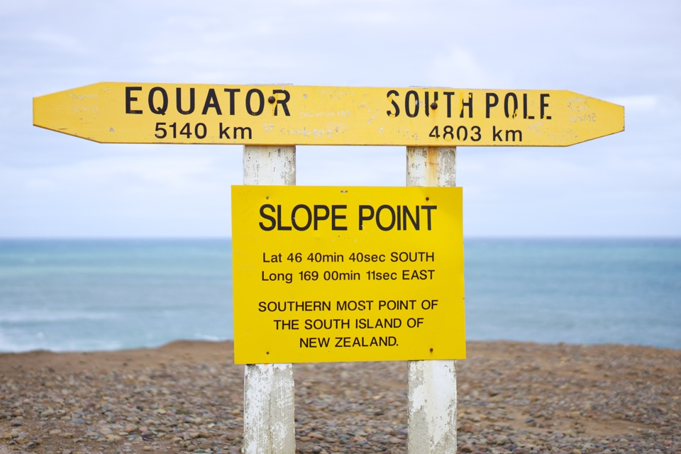 Slope Point, southern most point of the South Island of New Zealand