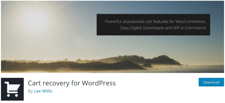Cart recovery for WordPress banner