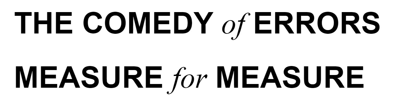 An example of heading text in a blocky sans serif font with only the prepositions rendered in serif italics