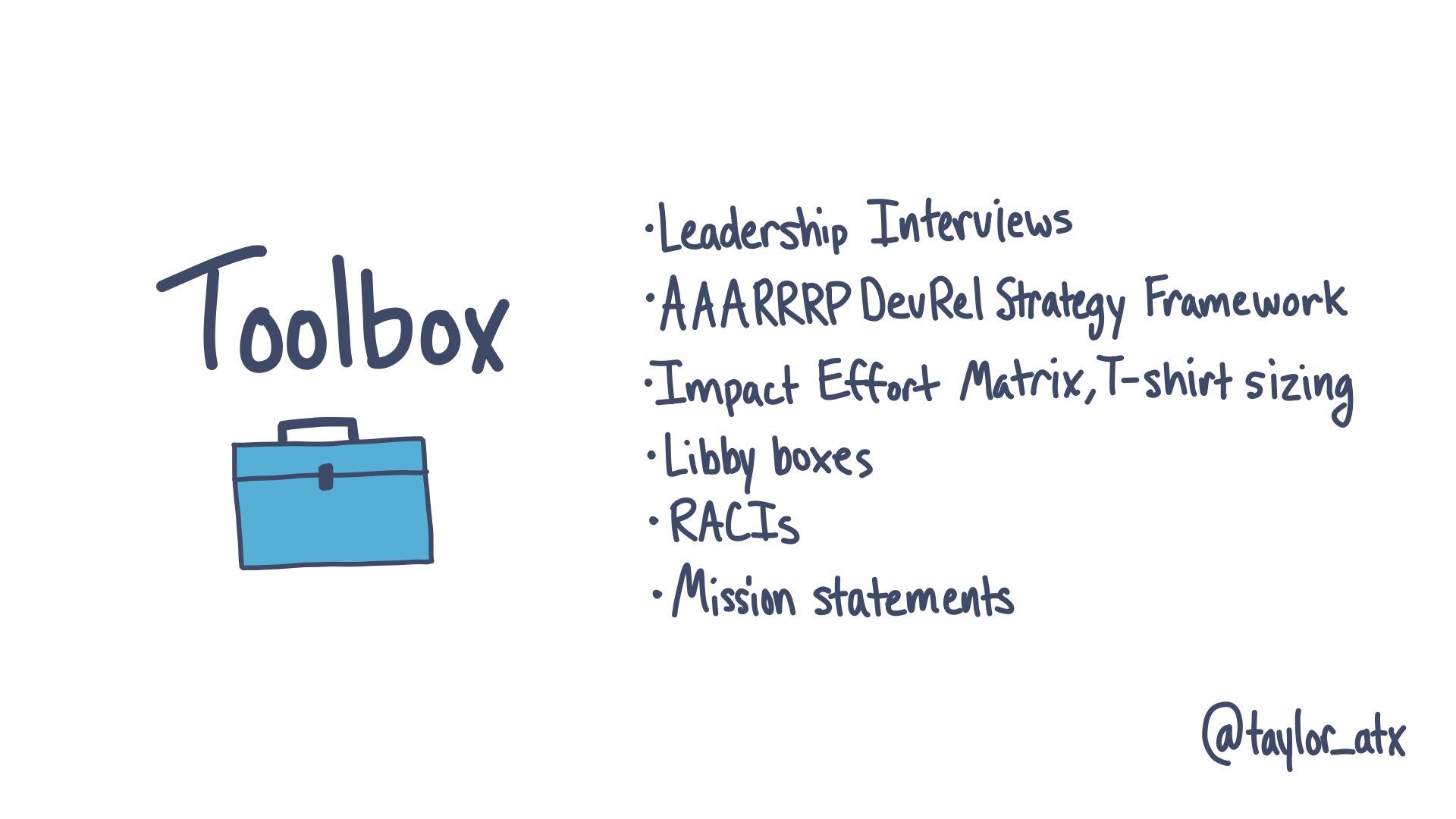 Toolbox: Leadership interviews, AAARRRP DevRel Strategy Framework, Impact Effort Matrix, t-shirt sizing, Libby boxes, RACIs, Mission statements
