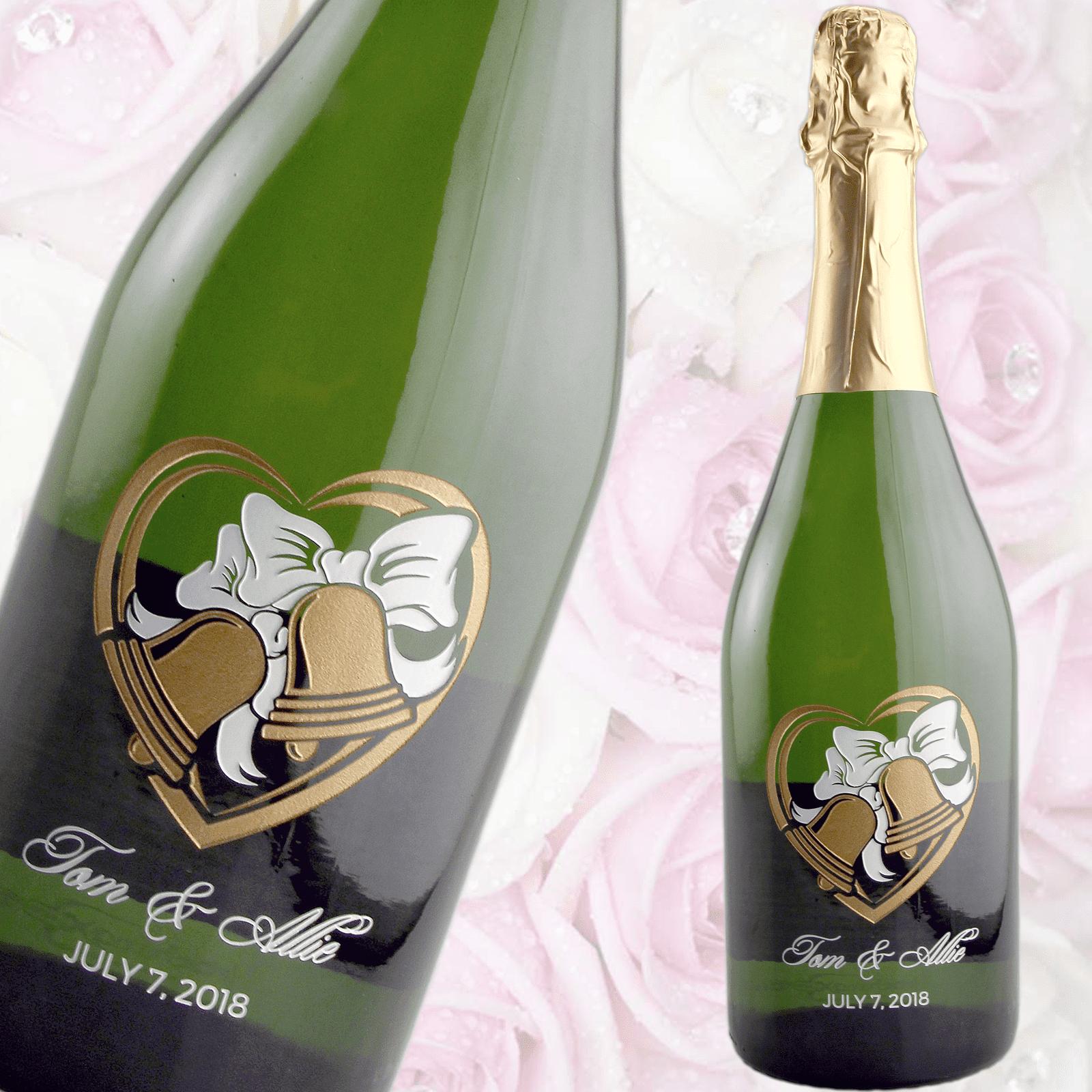 Etched Wedding Wine Champagne Wedding Bells